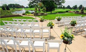 Garden Patio outdoor wedding venue at Oak Brook Hills Resort