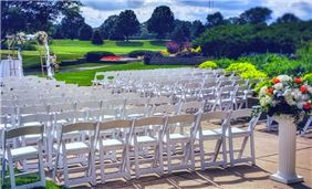 Outdoor garden patio wedding at Hilton Chicago Oak Brook Hills Resort