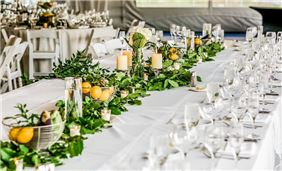 Marquis tent wedding reception table