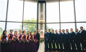 A wedding reception at Oak Brook Hills Resort overlooking the grounds