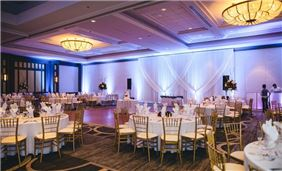 Wedding reception set up in the grand ballroom
